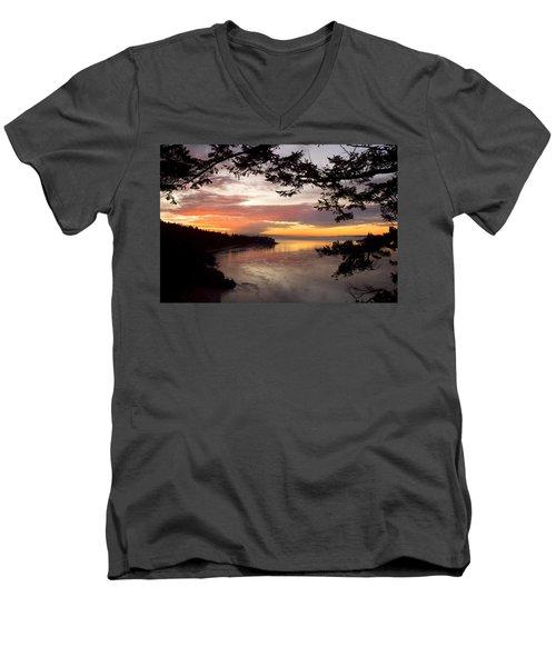 Ocean Sunset Deception Pass Men's V-Neck T-Shirt