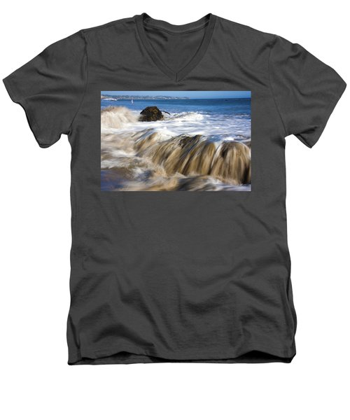 Ocean Waves Breaking Over The Rocks Photography Men's V-Neck T-Shirt by Jerry Cowart