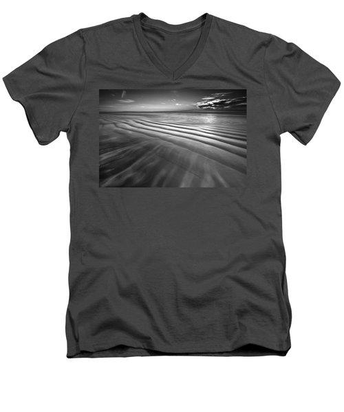 Ocean Waves Seascape Beach Sunrise Photograph In Black And White Men's V-Neck T-Shirt