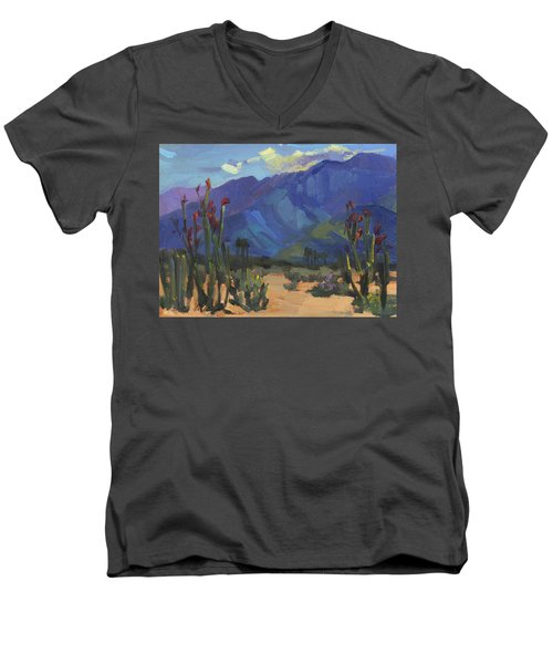 Ocotillos At Smoke Tree Ranch Men's V-Neck T-Shirt by Diane McClary