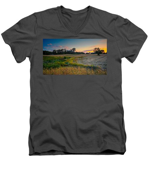 October Evening On The Farm Men's V-Neck T-Shirt