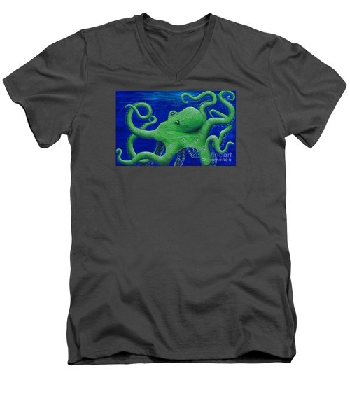 Men's V-Neck T-Shirt featuring the painting Octohawk by Rebecca Parker