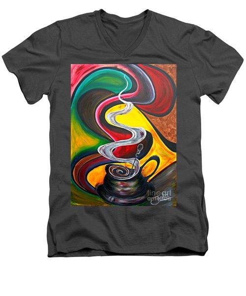 Ode To Coffee... Men's V-Neck T-Shirt by Jolanta Anna Karolska
