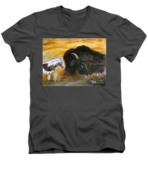 Men's V-Neck T-Shirt featuring the painting Of Proud Heritage by Barbie Batson