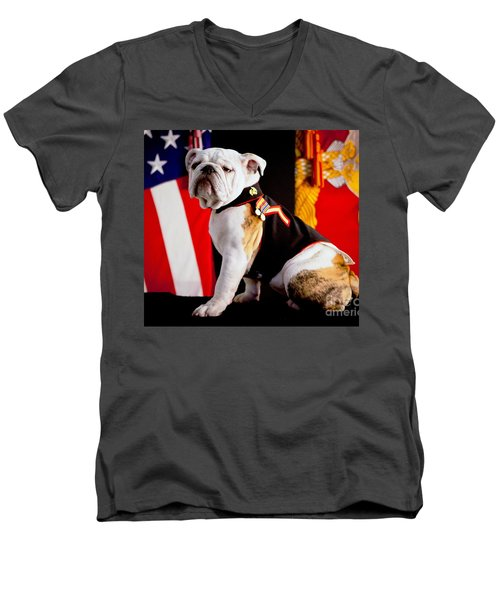 Official Mascot Of The Marine Corps Men's V-Neck T-Shirt by Pg Reproductions