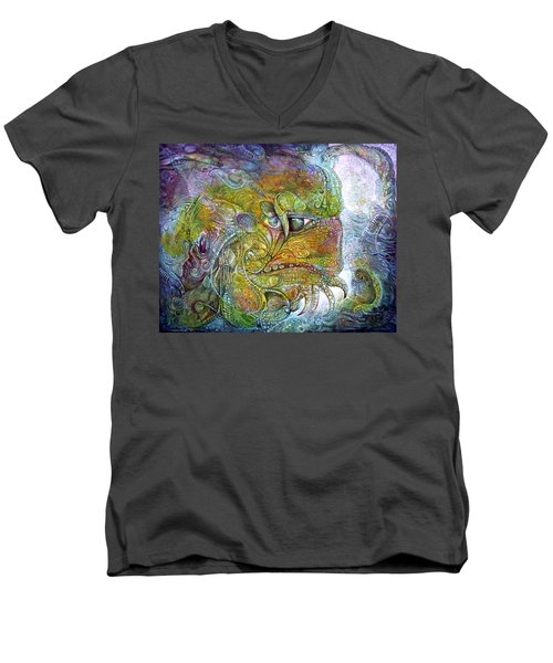 Men's V-Neck T-Shirt featuring the painting Offspring Of Tiamat - The Fomorii Union by Otto Rapp
