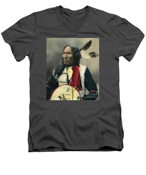 Oglala Chief Strikes With Nose 1899 Men's V-Neck T-Shirt by Heyn Photo