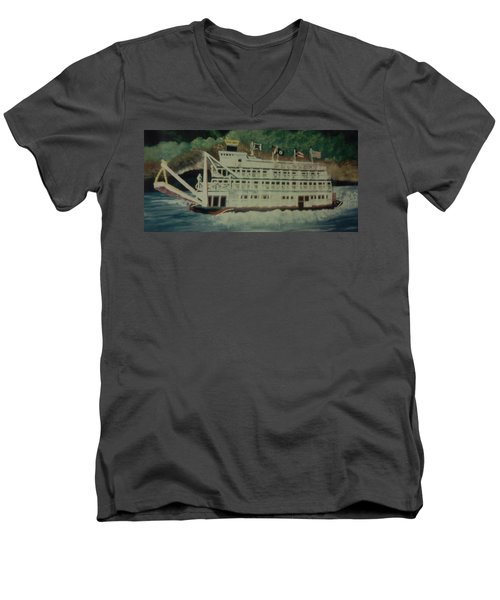 Men's V-Neck T-Shirt featuring the painting Ohio Riverboat by Christy Saunders Church