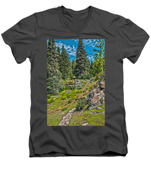 Ohme Gardens Men's V-Neck T-Shirt by Sonya Lang