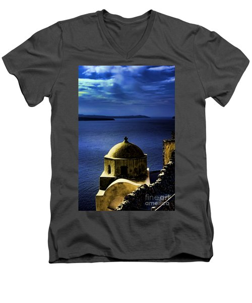Oia Greece Men's V-Neck T-Shirt by Tom Prendergast