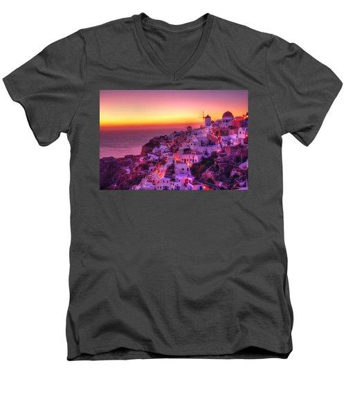 Oia Sunset Men's V-Neck T-Shirt by Midori Chan