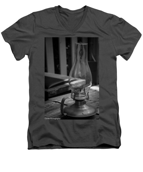 Men's V-Neck T-Shirt featuring the digital art Oil Lamp by Gandz Photography