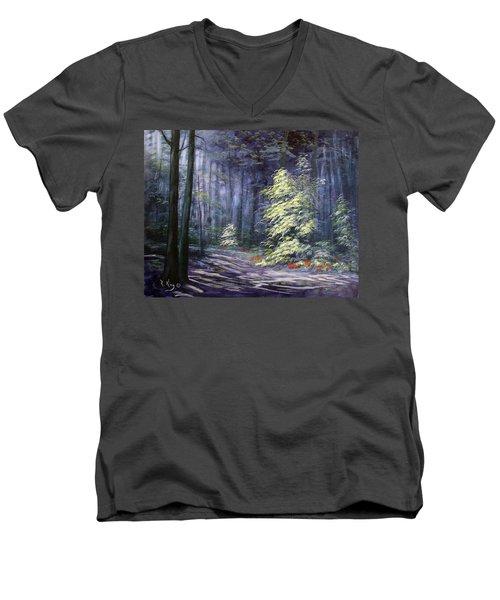 Oil Painting - Forest Light Men's V-Neck T-Shirt