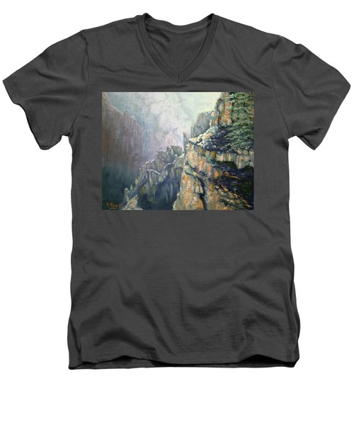 Oil Painting - Majestic Canyon Men's V-Neck T-Shirt