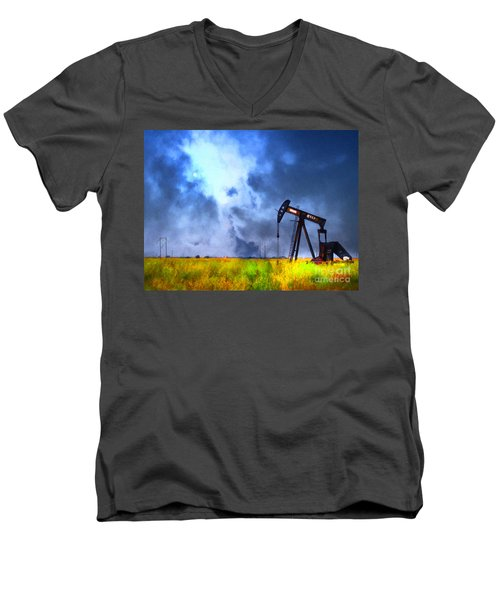 Oil Pump Field Men's V-Neck T-Shirt