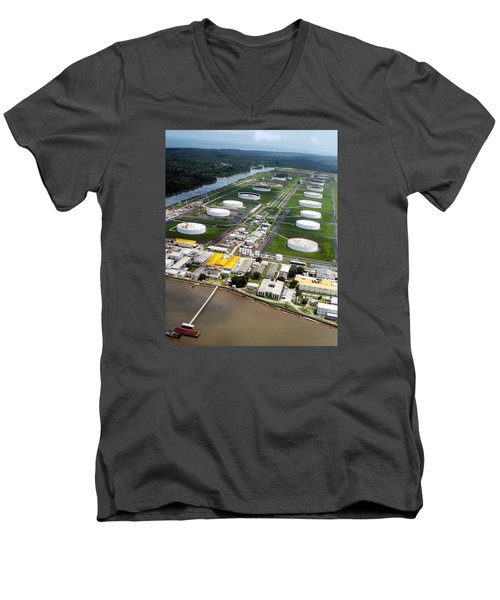 Oil Tank Farms  Men's V-Neck T-Shirt