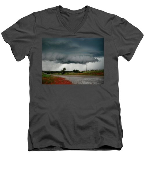 Men's V-Neck T-Shirt featuring the photograph Oklahoma Wall Cloud by Ed Sweeney