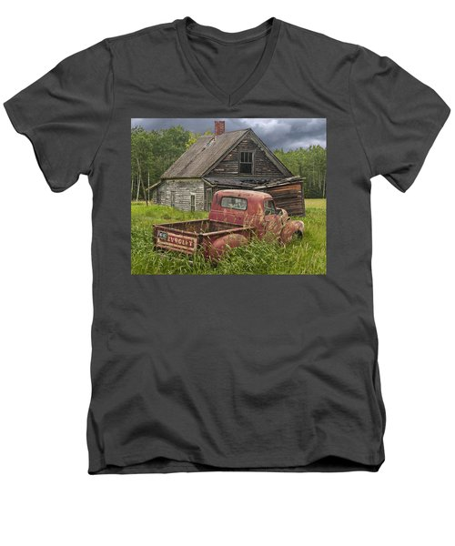 Old Abandoned Homestead And Truck Men's V-Neck T-Shirt by Randall Nyhof