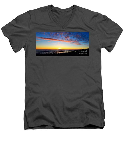Men's V-Neck T-Shirt featuring the photograph Old A's Panorama by David Lawson