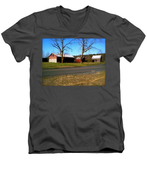 Men's V-Neck T-Shirt featuring the photograph Old Barn by Amazing Photographs AKA Christian Wilson