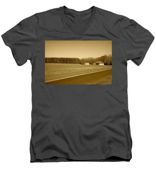 Men's V-Neck T-Shirt featuring the photograph Old Barn And Farm Field In Sepia by Amazing Photographs AKA Christian Wilson