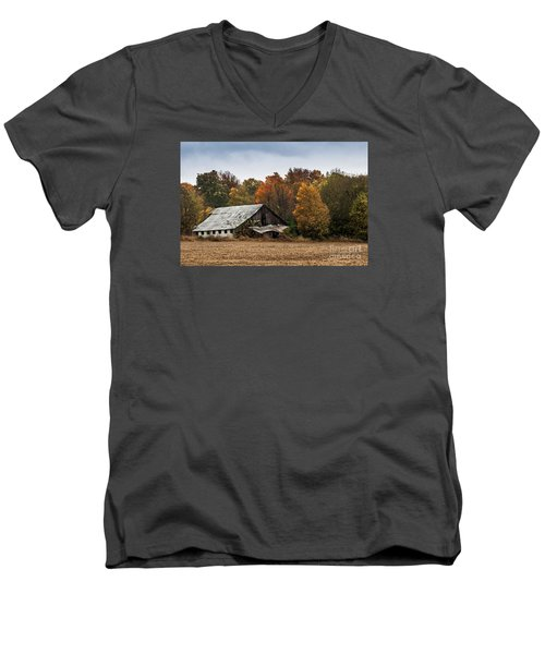 Men's V-Neck T-Shirt featuring the photograph Old Barn by Debbie Green