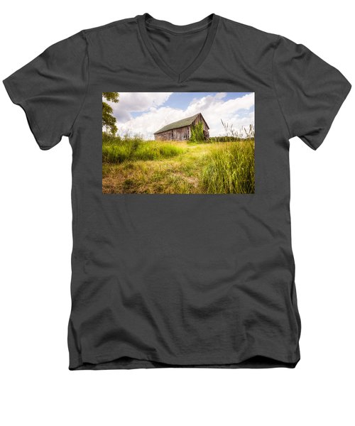 Men's V-Neck T-Shirt featuring the photograph Old Barn In Ontario County - New York State by Gary Heller