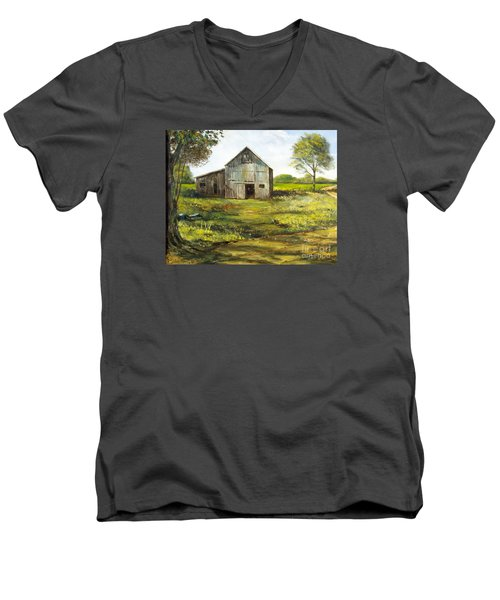 Men's V-Neck T-Shirt featuring the painting Old Barn by Lee Piper