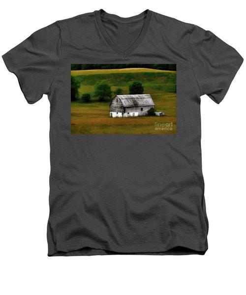 Old Barn Near Buckhannon Men's V-Neck T-Shirt by Dan Friend
