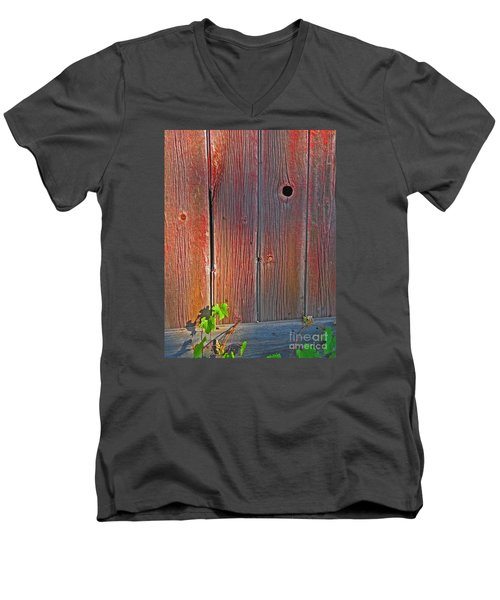Men's V-Neck T-Shirt featuring the photograph Old Barn Wood by Ann Horn