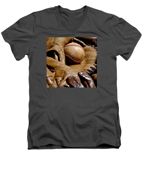 Old Baseball Ball And Gloves Men's V-Neck T-Shirt by Art Block Collections