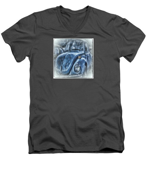 Old Blue Bug Men's V-Neck T-Shirt by Jean OKeeffe Macro Abundance Art