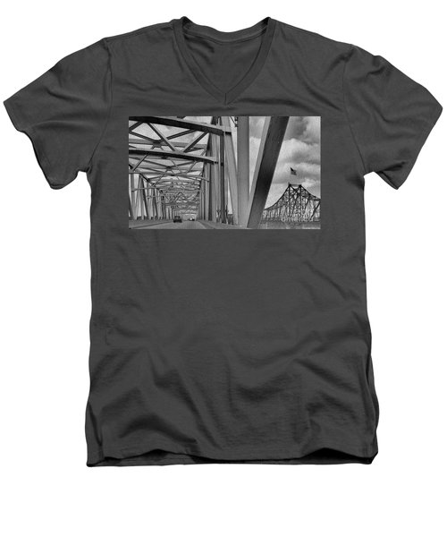Men's V-Neck T-Shirt featuring the photograph Old Bridge New Bridge by Janette Boyd
