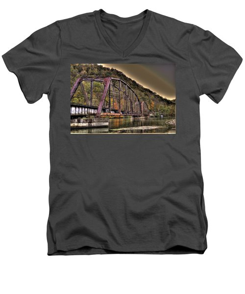 Men's V-Neck T-Shirt featuring the photograph Old Bridge Over Lake by Jonny D