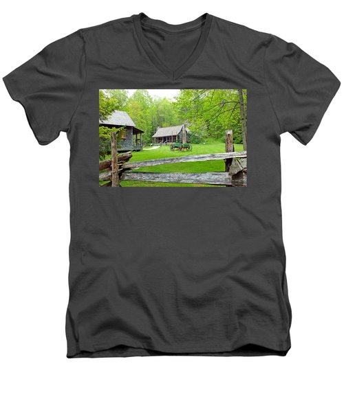 Old Cabins At The Cradle Of Forestry Men's V-Neck T-Shirt