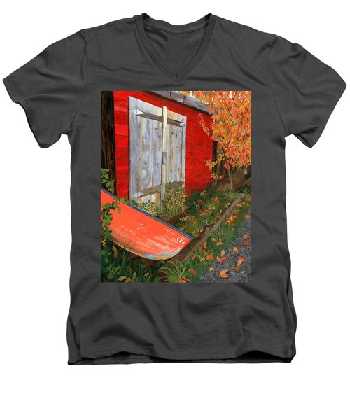 Men's V-Neck T-Shirt featuring the painting Old Canoe by Lynne Reichhart