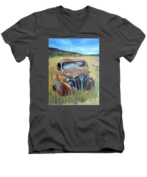 Men's V-Neck T-Shirt featuring the painting Old Car by Jieming Wang