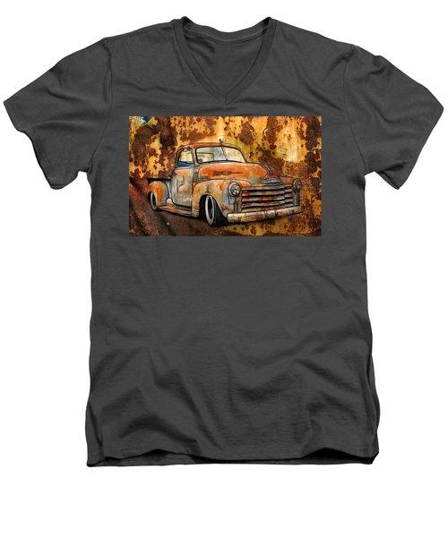 Old Chevy Rust Men's V-Neck T-Shirt by Steve McKinzie