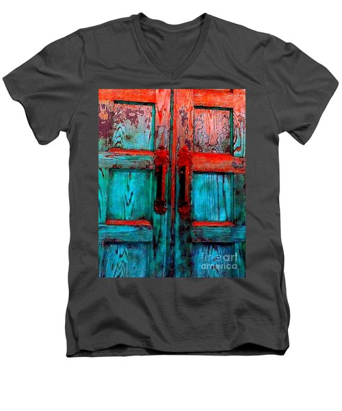 Old Church Door Handles 2 Men's V-Neck T-Shirt by Becky Lupe