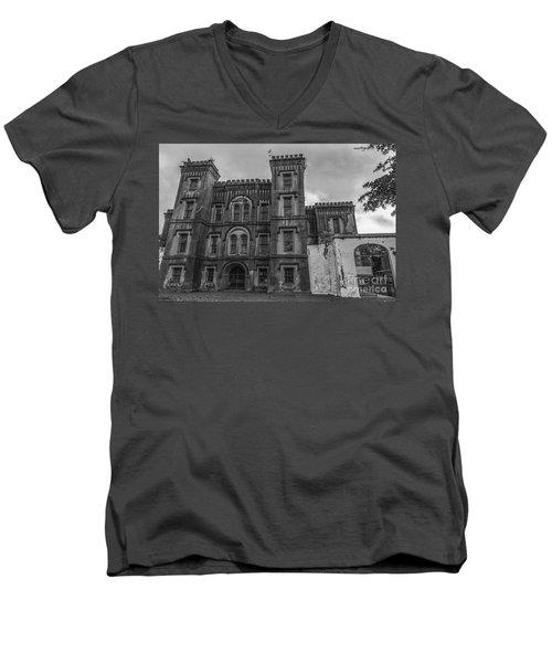Old City Jail In Black And White Men's V-Neck T-Shirt