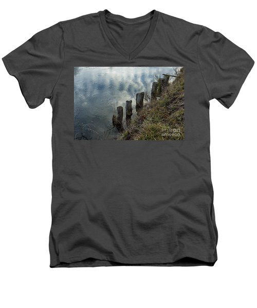 Old Dock Supports Along The Canal Bank - No 1 Men's V-Neck T-Shirt by Belinda Greb