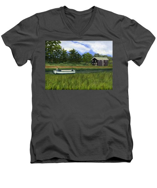 Men's V-Neck T-Shirt featuring the painting Old Erie by Lynne Reichhart