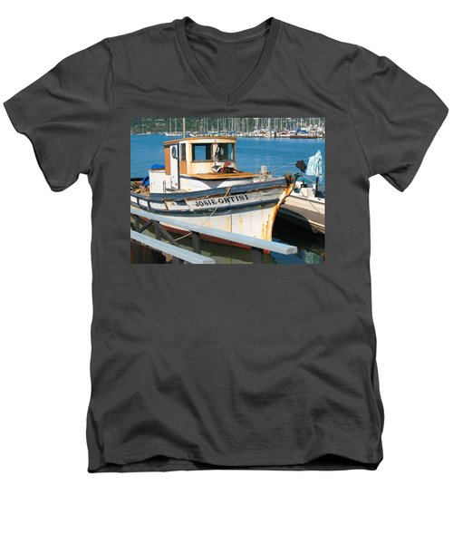 Old Fishing Boat In Sausalito Men's V-Neck T-Shirt by Connie Fox