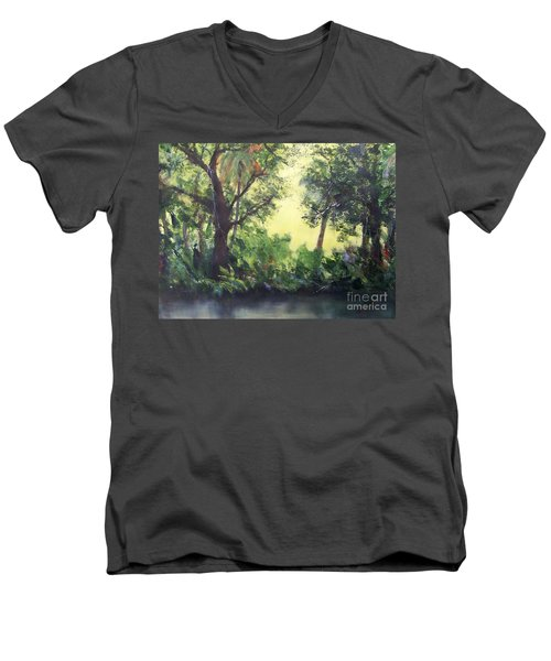 Men's V-Neck T-Shirt featuring the painting Old Florida 2 by Mary Lynne Powers