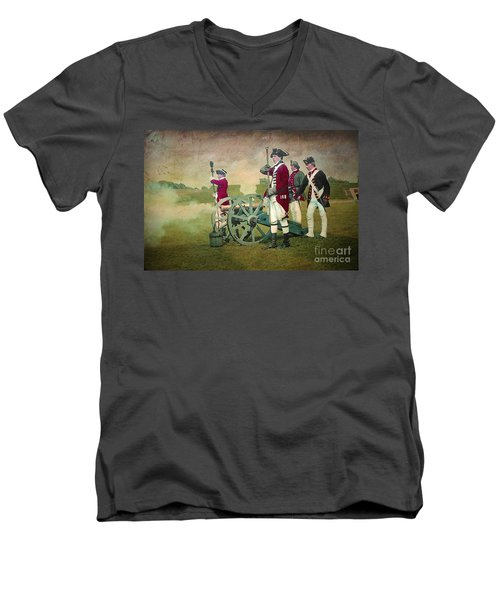 Men's V-Neck T-Shirt featuring the digital art Old Fort Niagara by Lianne Schneider
