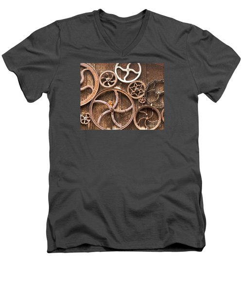 Old Gears In Genoa Nevada Men's V-Neck T-Shirt by Artist and Photographer Laura Wrede