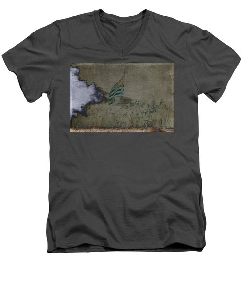 Old Glory Standoff Men's V-Neck T-Shirt by Wes and Dotty Weber
