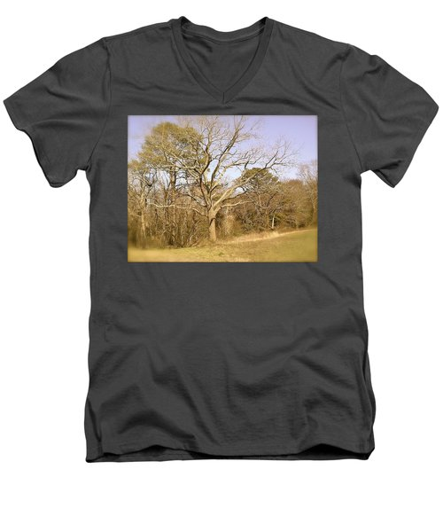 Men's V-Neck T-Shirt featuring the photograph Old Haunted Tree by Amazing Photographs AKA Christian Wilson
