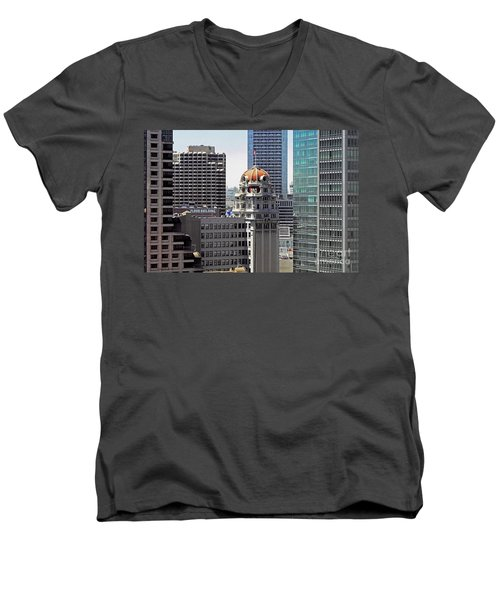 Men's V-Neck T-Shirt featuring the photograph Old Humboldt Bank Building In San Francisco by Susan Wiedmann