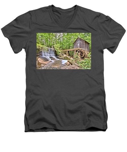 Old Lefler Grist Mill Men's V-Neck T-Shirt by Gordon Elwell